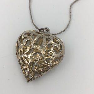 Jewelry - Silver Tone Heart Cage Bubble Pendant Necklace